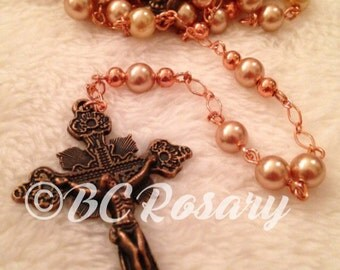 Catholic Copper Peach Rosary