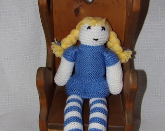 Hand knitted blue doll
