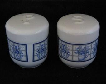 Vintage blue windowpane porcelain salt and pepper shakers
