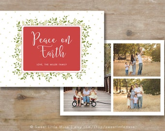 Christmas Card template - Holiday card template - 5x7 card template - holiday card