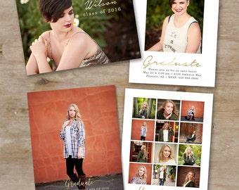 Senior Graduation Announcement Set - Gold Foil Senior Card Templates - Photoshop Template for Photographers - Gold 5x7