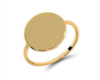 14k solid gold  round disc ring. knuckle ring. engravable ring. trendy ring.