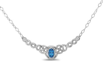 "Sterling Silver Irish Love Knot 18"" Necklace w/ Genuine London Swiss Blue Topaz center stone"