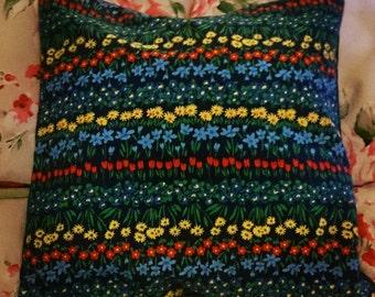 Navy floral vintage print cushion