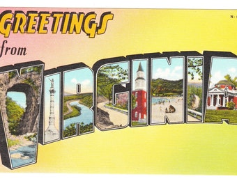 Greetings from Virginia Vintage Postcard (unused)