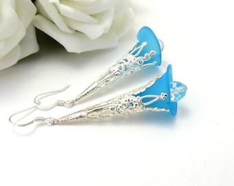 Trumpet Style Blue  Lucite Earrings, Long Flower Earrings,Silver Earrings, Drop Earrings, Blue Earrings, Flower Earrings