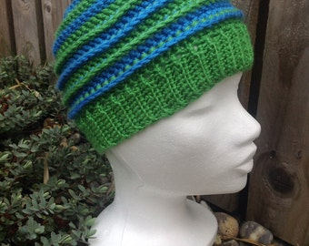 Crochet hat, blue hat, green hat, childrens hat, kids hat, winter hat, ski hat, crochet beanie, beanie hat, wool hat, crochet beanie hat,