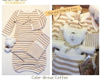 Organic Pajama Set Newborn~ 4 pcs. Cinnamon stripes