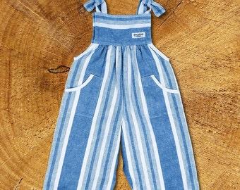 Organic Baby Overalls  Harvest stripes