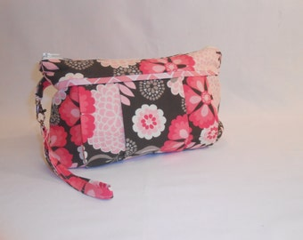Pink and Brown Floral Diaper Clutch with Changing Pad