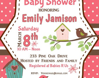 Printable DIY Baby Shower Pink with Birds |  Polka Dots | Girl Baby Shower