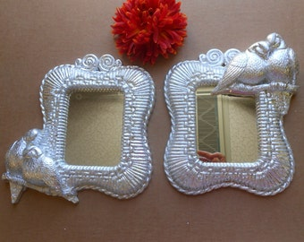 """5"""" Wall Mirrors, Silver Leaf Mirrors, Decorative Wall Mirrors, Silver Frame Mirrors, Decorative Mirrors, Pair of Silver Mirrors,Item SLM6906"""