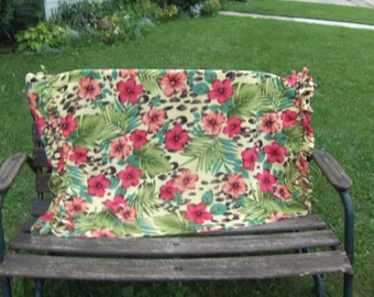 tropical print beach blanket, one layer fleece balnket, cheetah print, hibiscus flowers
