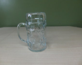 large vintage beer mug, glass beer stein, vintage barware