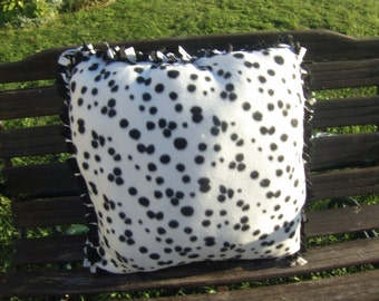 dog bed in dalmation print, small and large pet beds, fleece bed for dogs, throw pillows in dalmation print