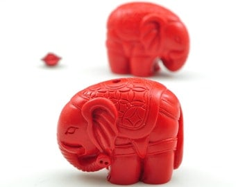 6 pcs of Vintage Carved Cinnabar,red Spacer beads,Synthetic Elephant Beads in 23 mm wide X 29 mm length