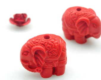 10 pcs of Vintage Carved Cinnabar,red Spacer beads,Synthetic Elephant Beads in 13 mm wide X  14.5 mm length