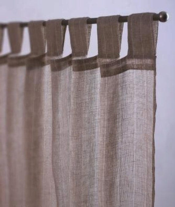 Sheer Linen Curtains Grey Linen Curtains And: Set Of 2 Gray Natural Sheer Linen Curtains 52'' By TheNewHome
