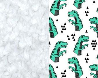Green Dinosaurs Blanket, Minky Baby Blanket, Dinosaurs Baby Blanket, Newborn Blanket, Jade Green Dinosaurs Baby Blanket, Dino Baby Quilt