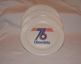 3 Paper Plates Advertising the 76 Chevrolets