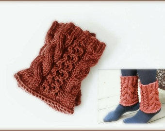Leg warmers boot cuffs women's leg warmers, Ankle warmers knit chunky Boot cuffs in rust Brown.
