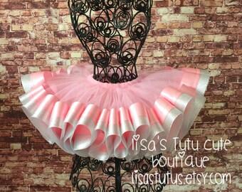 Pink tutu. Silver tutu. Pink and silver tutu. Pink Birthday tutu. Pink Party tutu. Recital tutu. Ribbon tutu, cake smash tutu