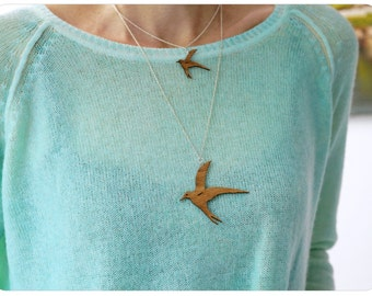 Silver necklace swallow, wooden bird pendant, swallow, lasercut jewelry, dimension L