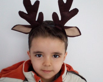 Felted Reindeer horn-Reindeer horn-Deer Ears with horn-Reindeer headband-Halloween Costume-Deer Antler Headband-adult size costume