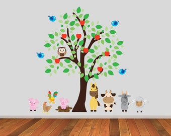 Farm Animals Tree Wall Stickers, Farmyard Wall Decals, Tree Wall Art, Animal Wall Transfer - Full Colour Wall Stickers - PPA010