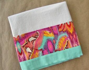 Flour Sack Towel - Butterfly Kitchen Towel - Lint Free Tea Towels - Fabric Trimmed Towel - Decorative Embellished Towel - Dish Towel