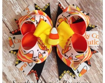 Candy Corn Cutie Stacked Boutique Bow