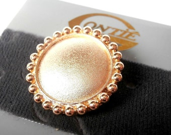 Signed Gontie Paris Pin Brooch Gold Plated Round Fancy Button 1244 New (D)