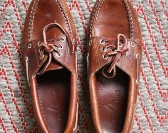 SALE Vintage 1990s Chestnut leather Colorado Loafers Boat Shoes