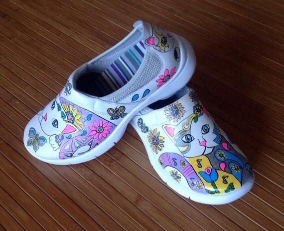 hand painted new dansko clog shoe creative cat 38 clogs shoe