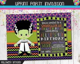 Bride of Frankenstein Monster  Halloween Birthday Party Invitation - Fall - Autumn