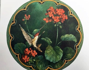 Ruby Throated Hummingbird with Geraniums 12 x 12 lithograph