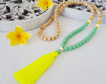 Neon Yellow tassel necklace - Mint  resin beads  and natural wood beaded tassel necklace with neon yellow tassel