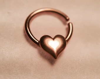 Rose Gold Heart Septum Ring