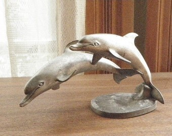 Pewter Arching Dolphins Sculpture By Hudson Pewter