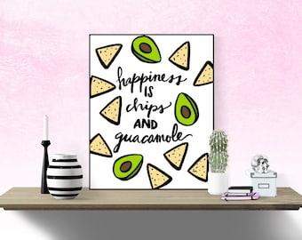 Happiness is chips and guacamole print, college dorm art, dorm art