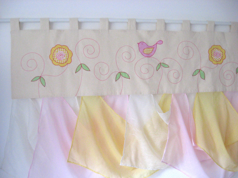 Shabby chic rideau applique oiseau fleur jupe rose p le for Rideau occultant rose pale