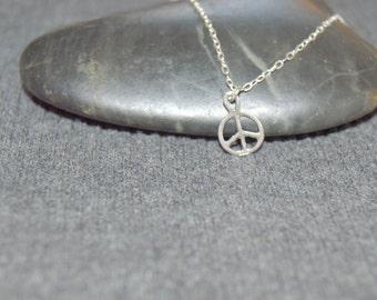 tiny peace sign necklace sterling silver, dainty necklace, petite charm necklace, hippie jewelry, boho necklace, peace symbol, minimalist
