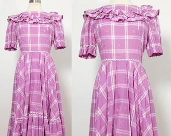 1960s Square Dance Dress / Vintage Dress Medium Large / Lolita Dress Medium Large / Purple Dress / Floral Dress Large