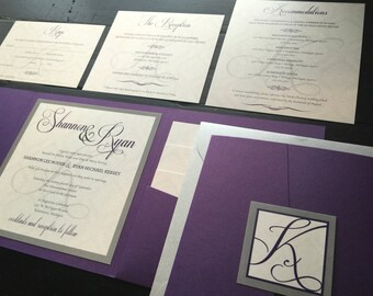 Purple Pocket Wedding Invitation