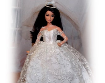 Barbie Wedding Dress & Veil. Newly deboxed Vintage Reproduction  Mattel Barbie Clothes.  Barbie Doll not included.
