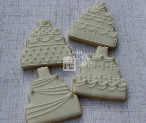 sugar cookie wedding cakes wedding cake decorated sugar cookies 1 dozen wedding favor 20566