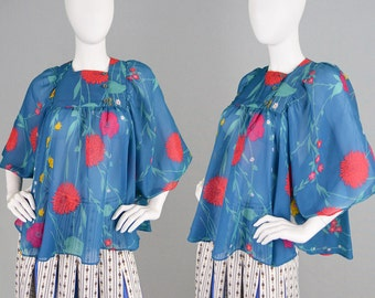 Vintage 70s Loose Flowy Top Floral Print Angel Sleeve Top Batwing Top Chiffon Blouse 70s Boho Shirt Peepers Boutique Flower Power Hippy Top