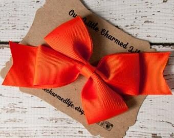 SALE, Orange Hair Bow, Orange Hairbow, Orange Hair Clip, Halloween Hair Bow, Halloween Hairbow, Toddler Hair Bow, 5 Inch Hair Bow