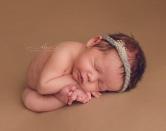 Mohair Headband, Grey Halo Headband, Grey Mohair Halo, Newborn Halo, Newborn Headband, Newborn Props, Photo Props, Newborn Headband