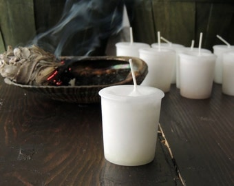 SACRED SAGE Votive Candle Zinzeudo Purification Smudge Cleanse Spell White